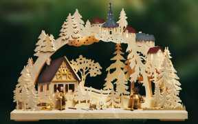 3D-Schwibbogen kl., Holzsammler, farbige Dächer