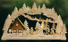 3D-Schwibbogen gr., Altseiffen, geschnitzte Figuren, grün-ocker
