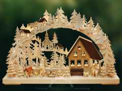 3D-Schwibbogen kl., Feierabendstimmung, braunes Haus